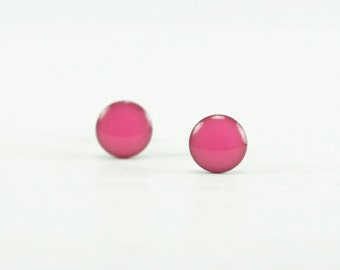 NEON PINK Stud Earrings - Neon Pink Earrings - Neon Pink Ear Studs - Neon Jewelry - Neon Studs - Surgical Steel Earrings - 4mm / 6mm / 8mm