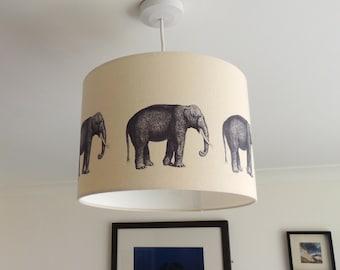 Elephants - 40cm hand printed drum lampshade