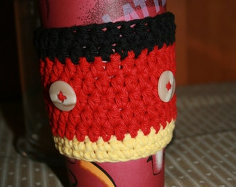 Mickey Mouse Inspired -- Coffee Cup Cozy, 100% Cotton with Buttons, Travel Sleeve, Java Jacket, Latte or Mocha, Fits 12, 16 or 20 oz cups.