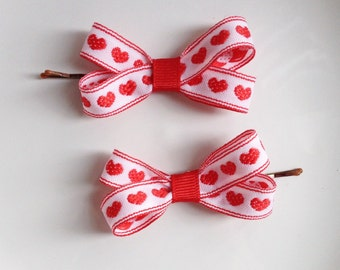 Set of Two Red Heart Bobby Pins