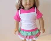 American Girl Doll Clothes, Doll Skirt Outfit, Three Piece Ruffled Skirt Outfit