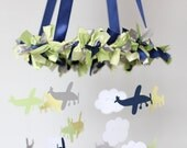 Airplane, Cloud & Star Nursery Mobile in Navy Blue, Yellow, Green, Gray, White- Baby Shower Gift, Photographer Prop