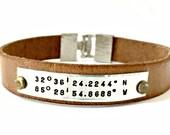 Personalized Latitude Longitude Custom Coordinates Leather GPS Location Cuff Bracelet - Hand Stamped - Hammered Silver Buckle Clasp - Unisex