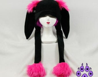 Pawstar BUNNY FLUFF HAT Extra Warm Furry Ears Beanie Hat You Pick Color Black White Gray Brown Orange Red Yellow Green Blue Purple Pink 1561