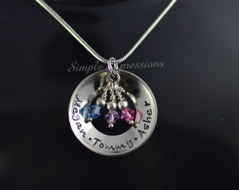 Personalized Concave Washer Necklace with Birthstones