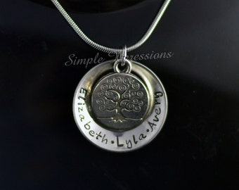 Personalized Concave Washer Necklace with Tree of Life Charm