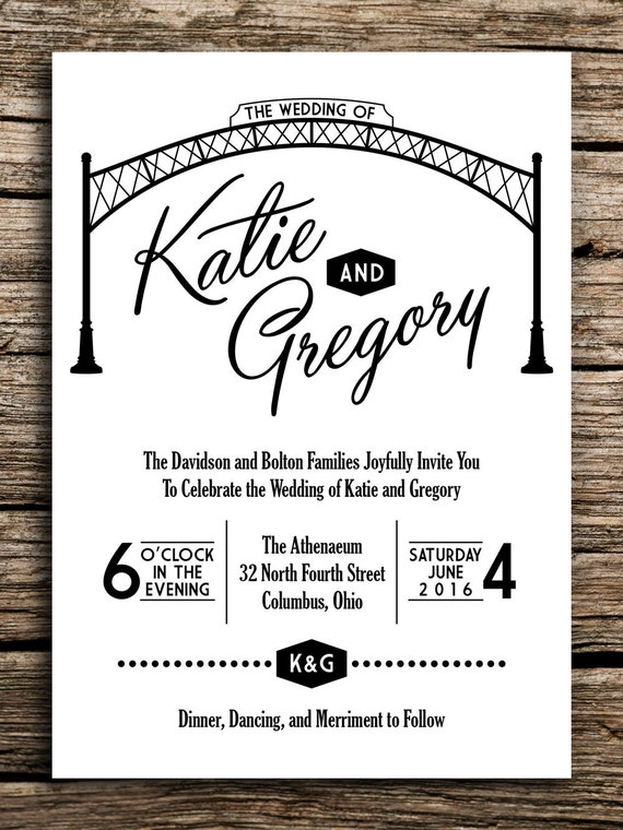 Arch City Wedding Invitation And Postcard RSVP // Columbus Ohio Wedding  Invitation Short North German Village Downtown OSU Postcard Arches