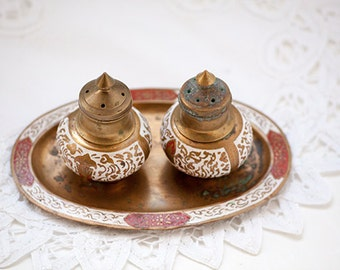 Vintage Brass And Enamel Salt and Pepper Set