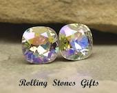 10mm Crystal Glacier Blue Swarovski Rounded Corner Square Rhinestone Stud Earrings-Crystal Stud Earrings-