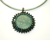 Bead embroidered necklace, green necklace, pentagram necklace