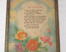 """Vintage """"TO MOTHER"""" Inspirational Poem Print"""