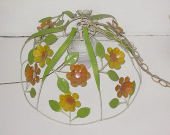 Vintage Yellow Orange Daisy Toleware Hanging Light Chandelier