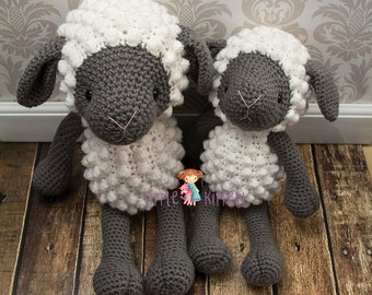 Medium Sheep Crochet Plush Toy - White and Gray - Made To Order