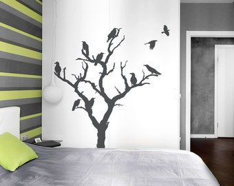 Crow Tree Wall Decal-Nature Wall Decal, Spooky Wall Art, Halloween Decal, Crow Decal, Crow Wall Art, Tree Wall Sticker,Halloween Party Decor
