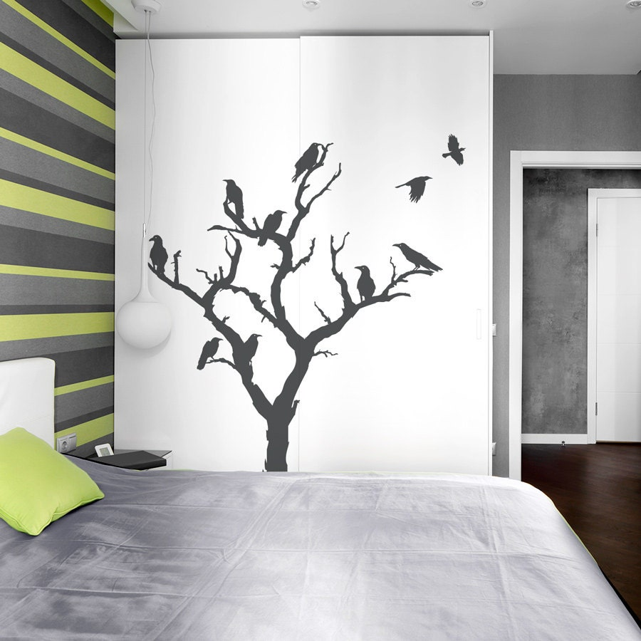 Crow tree wall decal nature wall decal spooky wall art zoom amipublicfo Image collections