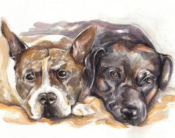 Custom 2 Pet Portrait - Illustration