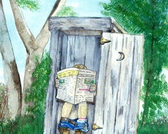Outhouse Watercolor Print, Bathroom Art, Occupied Outdoor Toilet Picture, Privy with Half Moon, Man with Newspaper, Nature Calls, Potty