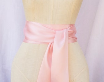 Light Pink Ribbon Sash - choice of 2.25 or 3 inch width x 144 inches length (4 yards)-Wedding Sash, Bridal Sash, Plain Sash, Light Pink Belt