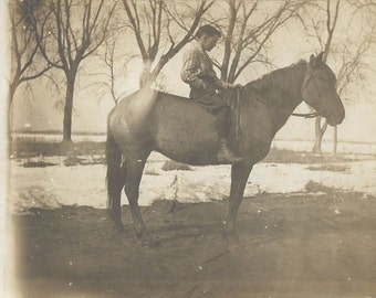Junior and His Pony - Antique 1910s Boy on Horse Silver Gelatin Print Real Photo Postcard