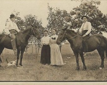 A Homestead Tableau - Antique 1910s Women, Men and Horses Real Photo Postcard