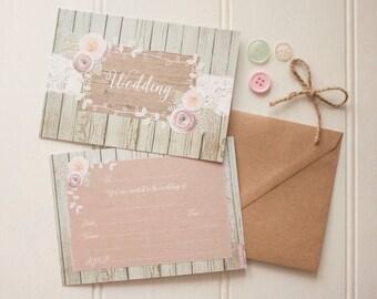 Ophelia Sage wedding invitation pack x 10
