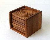 Vtg TEAK COASTER SET 9 pc Danish Modern GoodWood Bullseye Design Excellent Condtion