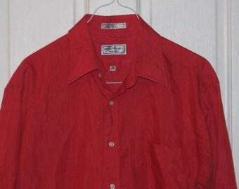 YVES SAINT LAURENT // 80's Yuppie ysl Logo Shirt Long Sleeve Bright Red Dress Shirt Button Down Striped Business