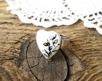Large White ring with Black Twig hand paintings Adjustable ring, Yeart ring, Valentine rng, Gift for her