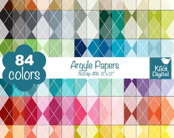 Argyle Digital Papers - Rainbow Argyle Papers - Argyle Scrapbook Papers - Huge Paper Pack- INSTANT Download