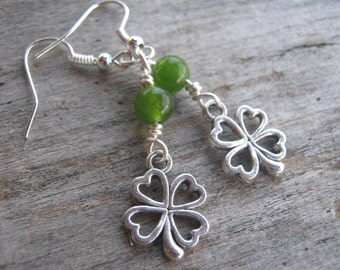 Green Shamrock Earrings, St. Patricks Day Earrings, Jade Earrings, Luck Irish Earrings, Nature Earrings, Antiqued Silver, READY To SHIP