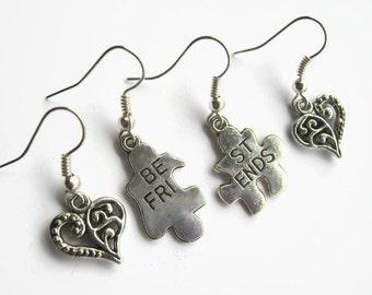 Best Friend Puzzle Earrings, 2 Pairs Besties Earrings, Antiqued SILVER BFF Heart Earrings,  Personalized Birthstone Earrings, READY To Ship