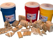 Large Wooden Blocks Set -160 Blocks In Bright Colored Storage Bucket. Great Family Gift. Free Shipping To U.S.