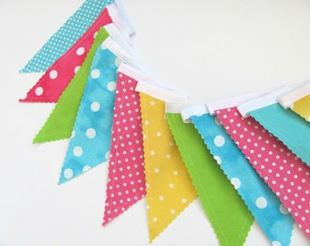 Girl's Bunting Banner, Birthday Decoration, Fabric Flags, Nursery Decor, Baby Shower Pink, Aqua, Yellow, Lime Green
