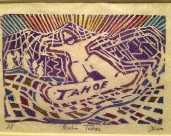 Ridin Tahoe 8 x 10 snowboard print