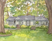 Watercolor Painting of your home, architectural artwork of house or business from photo drawn home portrait painted in watercolor with ink