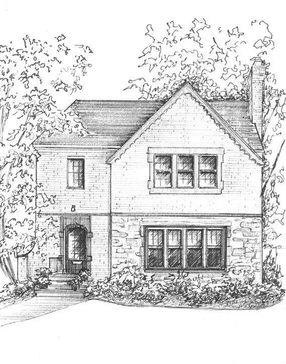 Custom House Sketch Hand Drawn Home Portrait In Ink Commissioned Your Decoration Architecture