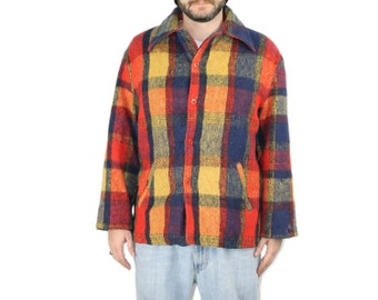 Nubby Jacket - 1960s 60s Menswear Flannel Grunge Coat Plaid Outerwear Mens Red Yellow Earthy Boho Woodsman Lumberjack 44 M Medium L Large