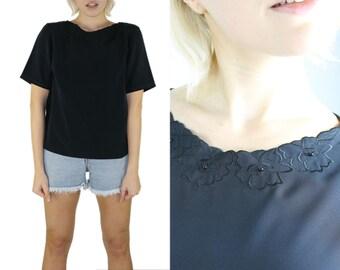 Black Blouse - Short Sleeves Boxy Embroidered Collar Black On Black Bead Silky Blouse Simple Top Minimalist 1980s 80s Large Medium Size 10