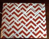16x20 French Memo Board - Red and White Chevron with White Ribbon - Unframed