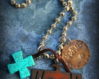 SALE-Rustic Western Charm Necklace-Brave, Thunderbird, Turquoise, Cross, Bold, Chunky