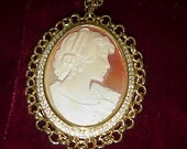 Large Cameo Necklace Pendant & Chain    Absolutely Splendid