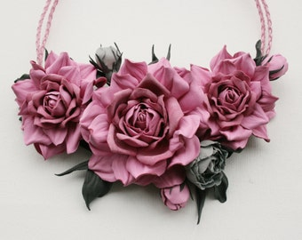 Pink/grey leather floral bib necklace - Made to Order