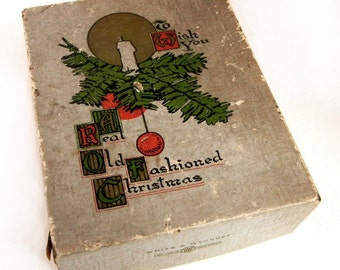 Christmas greeting card box from White & Wyckoff Manufacturing Co. from 1940s // old stationery box // holiday home decor