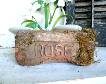 Antique Architectural Rare ROSE 1800s Arts & Crafts Script Brick Paver Victorian Farmhouse Garden Clay Terra Cotta Industrial Salvage