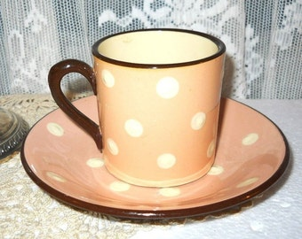 Vintage Country French Polka Dot Peach & Ivory 1950s Devon England Sandygate Pottery Ltd. Coffee Tea Cup and Saucer Cottage Chic Pottery Mug