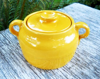 Los Angeles Bright Crayon Yellow Bauer Plain Ware Country Bean Pot Bowl Vintage 1930's Antique Primitive Stoneware Pottery