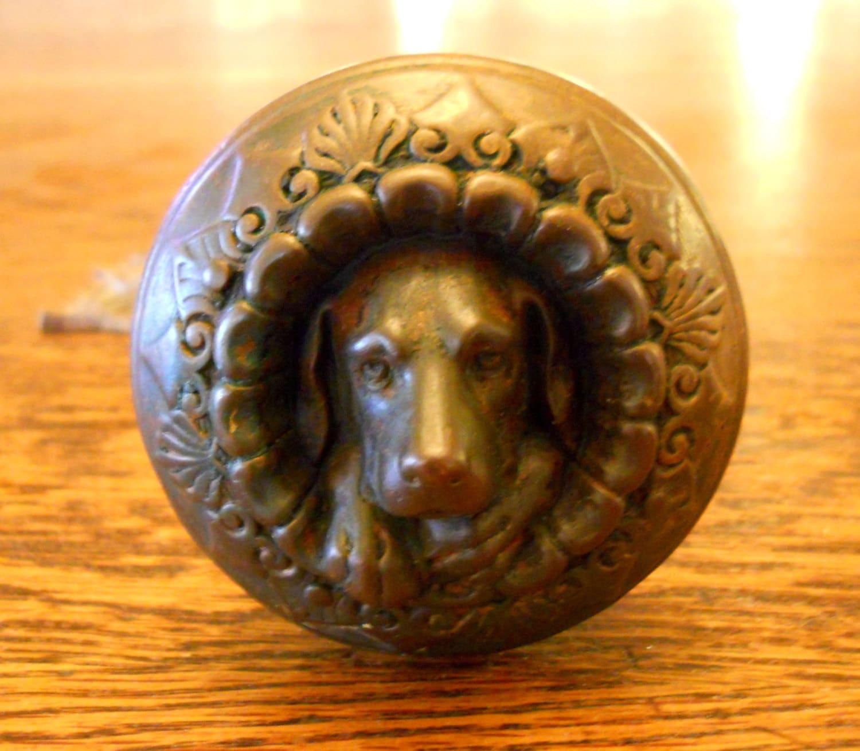 antique 1869 russell  u0026 erwin doorknob figural bronze dog