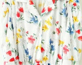 Bold Wildflower Vintage Day Dress / 70s Boho Floral Shirt Dress / Lovely Vintage Floral Dress / Secret Garden Dress