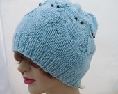 Owl Hat, Cable Benie Hat, Women Owl Hat in Blue, Owl Hat, Handknitted Owl Hat, UK Seller
