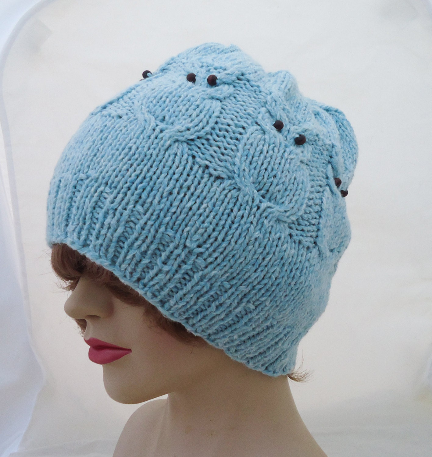 owl hat cable benie hat owl hat in blue owl hat